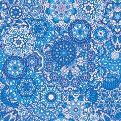 Winter snowflakes Damask flower seamless pattern
