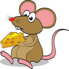 Cute mouse eating cheese. vector illustration.