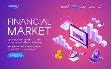 Financial market vector illustration of digital marketing and Bitcoin cryptocurrency trade statistics charts. Isometric infographic data of money profit and income growth on ultraviolet background
