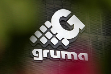 The logo of holding company Gruma, SAB de CV, engaged in corn and flour tortilla production across the world, is pictured at its headquarters in Monterrey
