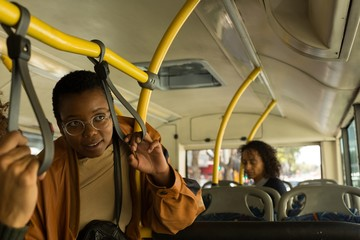 Woman traveling in the bus