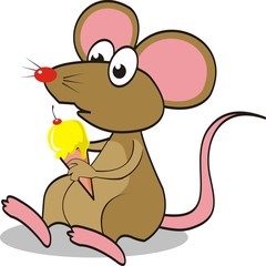 Cute mouse eating an ice cream. vector illustration.