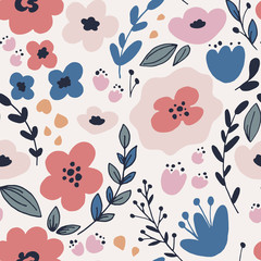 Floral pattern with leaves and fantasy flowers.