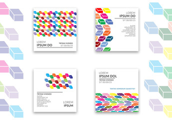 Social Media Post Layouts with Colorful Cubes