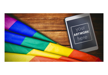Tablet near a Rainbow Flag Mockup