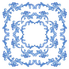 Frame of lace, watercolor painting on white background, isolated with clipping path.