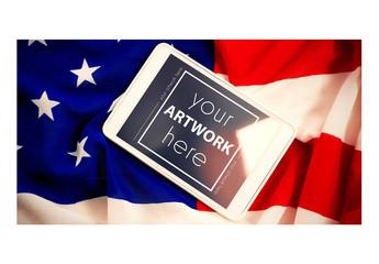 Tablet on an American Flag Mockup