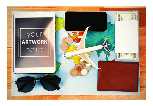 Tablet with Travel Items Mockup