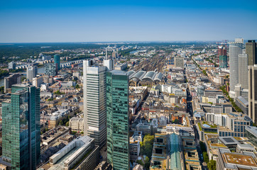 Aerial view  of the financial district in Frankfurt, Germany.