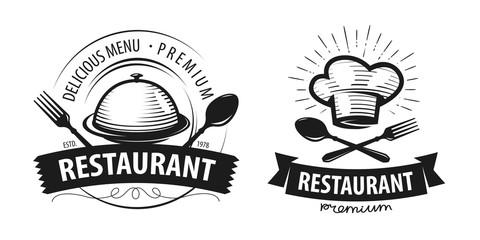 Restaurant logo or label. Emblems for menu design. Vector illustration