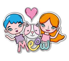 Meow cat card with cartoons