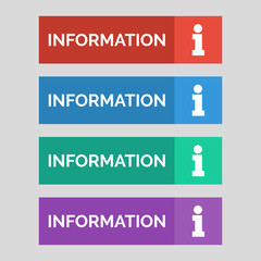 Information flat buttons on grey background.