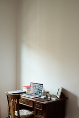 Workplace at wooden table