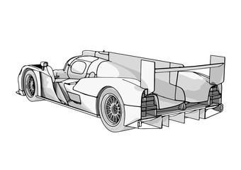 sketch of a race car vector
