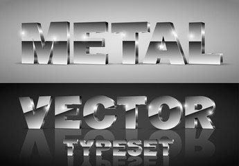 Dark Chrome Metallic 3D Typeset