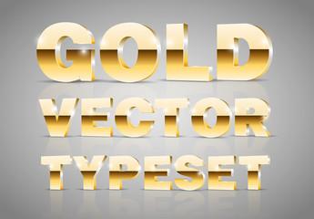 Gold Metallic 3D Typeset
