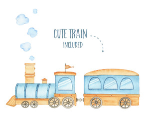 Watercolor cute train locomotive transportation railway child toy for boy