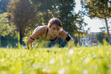Sporty woman during workout in a Park