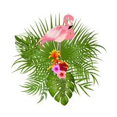 Tropical palm leaves, jungle leaves, flamingo, T-Shirt design.