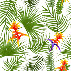 Tropical leaves and flowers seamless pattern, vector