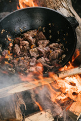 food in the huge metal dish, cooking on the open fire for many persons in the camp