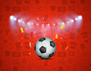 Soccer game winner concept. Illuminated soccer ball and confetti on football pattern
