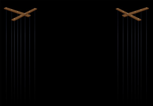 Puppet theater. Two wooden marionette control bars with long strings. Vector illustration on black background.