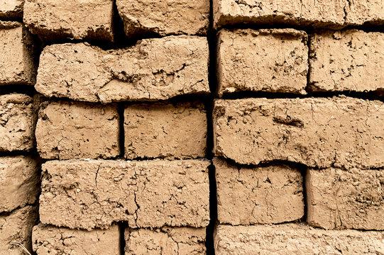 Background of adobe brick wall