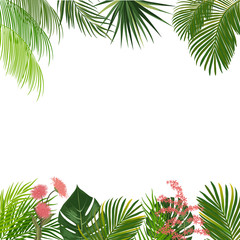 Vector tropical jungle background with palm trees and flowers