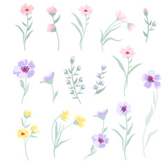 Vector floral set on white background.