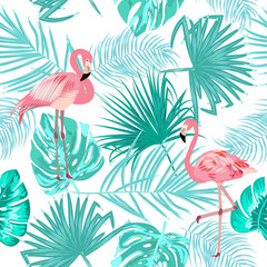 Tropical leaves and flamingo seamless pattern, vector