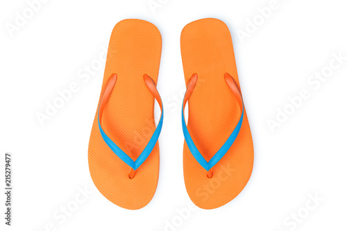 1285ff9d7ac0 Orange Flip Flops Isolated On White Background. Top View