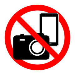 , Prohibition symbol sticker for area places, Isolated on white background, No, No camera and mobile phone sign