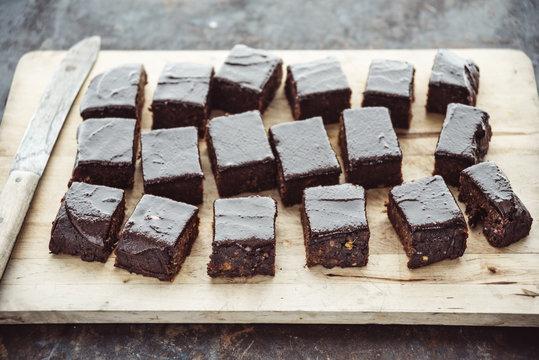 Food: Healthy brownies, made of sweet potato, medjool dates,caca