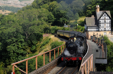 Steam Train Leaving Berwyn Station, Llangollen in North Wales.