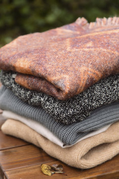 Stack of warm sweaters