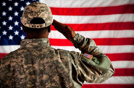 Soldier: Man Saluting Flag