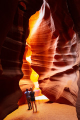 The interior pattern and textures of the canyon walls of Antelope Canyon near page, Arizona.