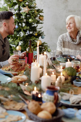 Christmas feast in family circle