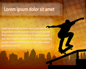 skateboarder silhouette over abstract background with space for text - vector