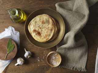 Overhead View of Flatbread with Garlic and Olive Oil, Studio Shot