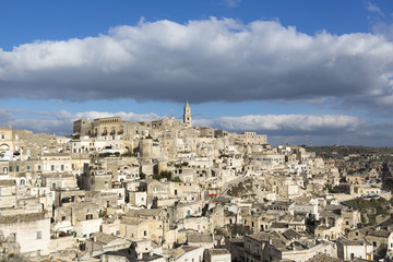 Overview of Sassi di Matera, one of the three oldest cities in the world, Basilicata, Italy