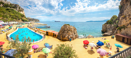 Wall Mural - Colorful luxury beach with swimming pool in Gibraltar. Europa