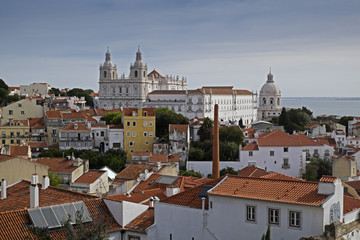 Monastery of Sao Vicente de Fora in Cityscape of Lisbon, Portugal