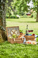 Poster Picnic Romantic picnic for two outdoors in a spring park