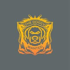 Dog mascot logo review head vector design illustration team race