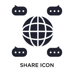 Share icon vector sign and symbol isolated on white background, Share logo concept