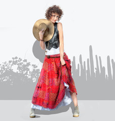 Fashion photo in country style of pretty young woman in retro clothes on background with abstract drawing of shadow