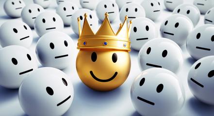 Goldener Smiley mit Krone in Gruppe 2