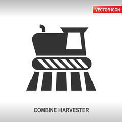 combine harvester vector icon